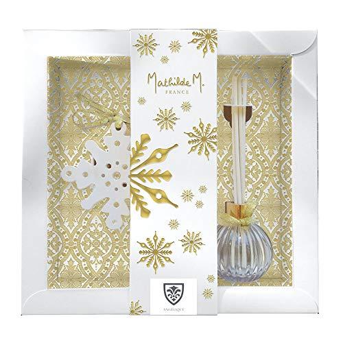 Mathilde M , Coffret Diffuseur Parfum d'Ambiance Senteur Angélique avec Recharge 100ml et Décor plâtre parfumé