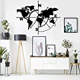 DEKADRON Metal Wall Art, Brújula de mapa del mundo, Metal Wall Decor, Metal Sign, Metal Mapa del Mundo Wall Art