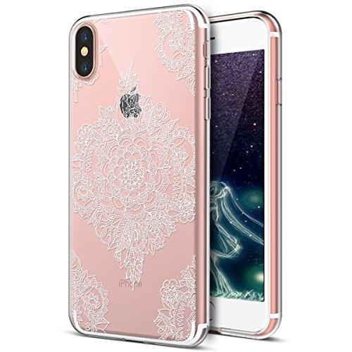 iPhone X Case,iPhone X Clear Case,PHEZEN White Henna Mandala Floral Ultra Thin Soft TPU Case,Transparent Crystal Clear TPU Silicone Rubber Bumper Back Case Cover for iPhone X, 3