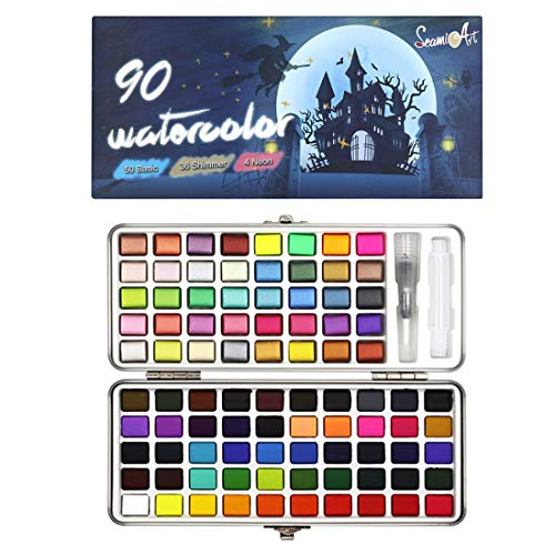 Seamiart Watercolor Paint Set,90 Assorted Pigment Metallic Shimmer Colors with Water Brush in Gift Box for Kids Adults Beginners Artists Art Painting Artworks,Portable Travel Kit