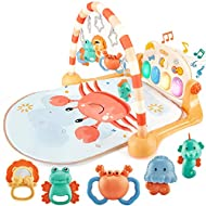 ✅【4 Ways to Play as Your Baby Grows】Our baby play mat has five rattles teether pendants with four light-up piano keys, and an adjustable toys arch to keep your little one rocking out for years to come! For the 0-3M babies, in the lay play and tummy m...