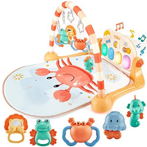 hahaland Gimnasio Bebe Alfombras Infantiles Juegos Gimnasio de Actividade Juguetes Bebe 3 6 8 9 meses, Gimnasio Piano Pataditas Manta Musical de Juego Primer Regalo para Bebé