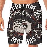 Bañador de secado rápido para hombres, con cordón, cintura elástica, pantalones cortos de playa, traje de baño, motorista Bulldog con pistones cruzados. Ilustración de vector con motocicleta XXL
