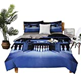 DRAGON VINES Bed Sheets Bowling Party Symmetrical Bowling Pins on an Empty Alley Hobby Fun Challenge Theme Bed Sheets Full Set Blue White Red W103 xL90