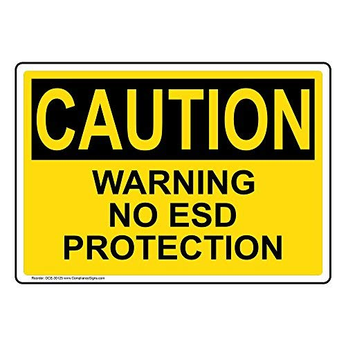 Wendana Voorzichtigheid Waarschuwing Geen ESD Beschermingsbord, Grappige Tin Metalen Waarschuwingsborden voor Eigenschap, Aluminium, Poortbord, Hek Teken Buiten, 8