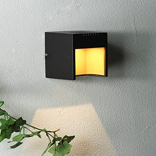 Applique murale extérieure noire LED seulement 3W puissance absorbée IP44 Eclairage carré Entrée de terrasse jardin