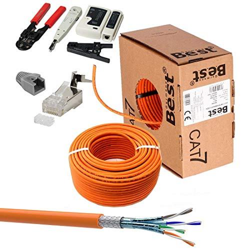 SatShop-Ft 100m CAT 7 Verlegekabel Netzwerkkabel CAT.7 + Crimpzange RJ45 Zange + Kabelmesser + 20x Netzwerkstecker Netzwerk Stecker LAN Halogenfrei Installationskabel CAT7 Kupfer Kabel Netzwerk