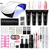 Kit 4pc Poly Nail Gel, Poligel Set Completo: 4pc Gel+ Lampada 36W UV/LED+ Tip Unghie+ Slip Solution+ Attrezzi Professionali di Saint-Acior