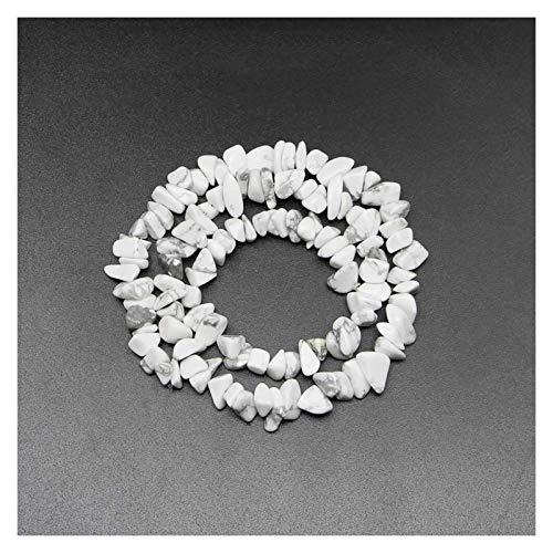 JIACHEN Cuentas de piedra natural chips de 5 a 8 mm, ágata Turquolse Strand 40,6 cm Lrregular Gravel Bead Suministros de pulsera (color: turquesa blanca)