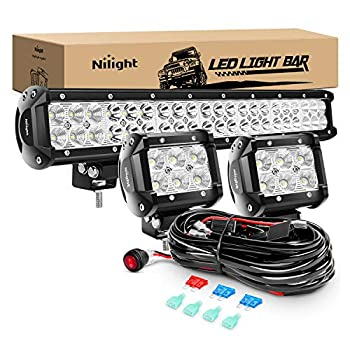Nilight - ZH001 20Inch 126W Spot Flood Combo Led Off Road Led Light Bar 2PCS 18w 4Inch Flood LED Pods With 16AWG Wiring Harness Kit-2 Lead 2 Years Warranty