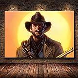 shuimanjinshan Red Dead Redemption 2 Juego Lienzo póster Pared Arte impresión Pintura Papel Tapiz Decorativo Cuadro de Pared para Sala de Estar (Py-77) 50x70cm No Frame