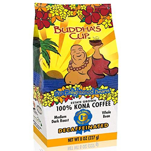 Hawaiian Kona Coffee Beans - Small Batch Decaf Whole Bean Produced in Kona - Farm-to-Cup Medium Dark Roast - 8oz of Air-Roasted Arabica Buddha's Cup Single Origin - NON-GMO, Chemical & Gluten Free