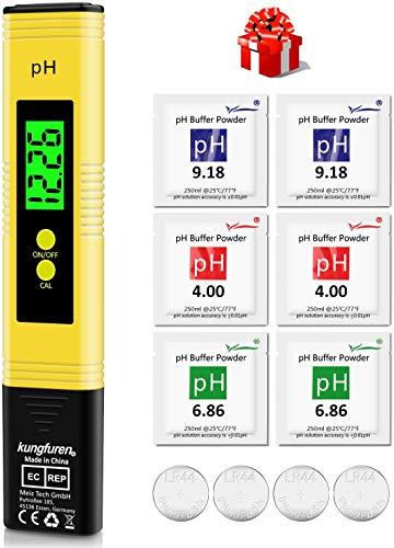 kungfuren PH Messgerät, Digital PH Wert Messgerät mit LCD Anzeige, Wasserqualität Tester für Trinkwasser/Schwimmbad/Aquarium/Pool, Hohe Genauigkeit, 0.00-14.00 Messbereich