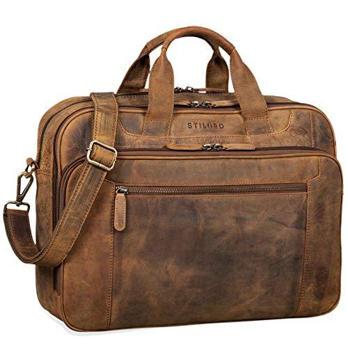 STILORD \'Nelson\' Businesstasche Herren Leder 15,6 Zoll Laptoptasche Groß Aktentasche Umhängetasche aus Vintage Rindsleder, Farbe:mittel - braun
