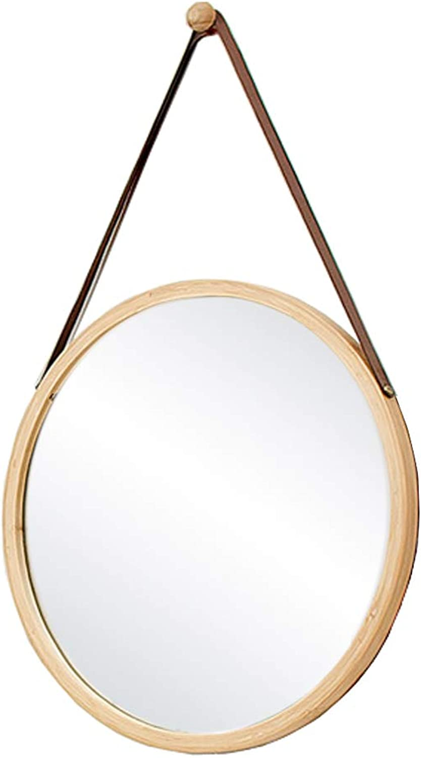 Wall Mirror   Decorative Bathroom Mirrors Contemporary Round Bamboo Framed Design   greenical Hangs Vanity Makeup Mirrors (Diameter 15 18 Inch)