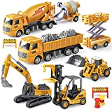 Geyiie Construction Vehicles Truck Toys, Kids Engineering Playset, Excavator Digger Bulldozer Forklift Trucks Trailer Cement,Gift for Toddlers, Kids, 3,4,5,6 Year Old Boy Girl, Sandbox Trucks