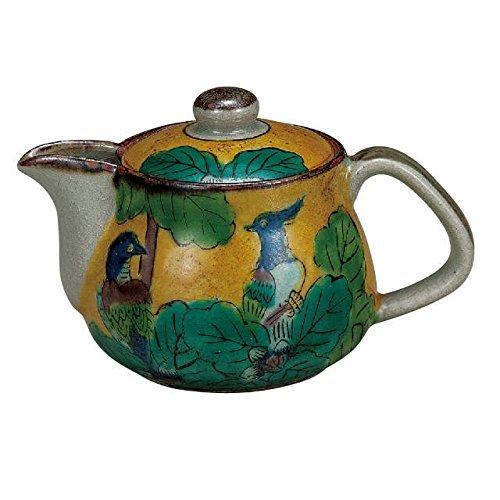 kutani Japonés de Cerámica de Porcelana Ware. Japonés kyusu Tetera. Amarillo y gree. Japonés de cerámica Hagiyakiya K4-575