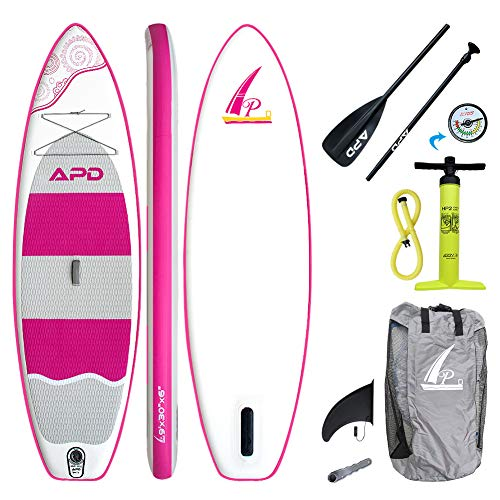 AKD Germany Kinds Tour Stand-up Paddle Board, Hochdruck-Pumpe mit Moanometer, Sport Alu-Paddel Verstellbar, Rucksack. 274,5x76x15cm (Pink)