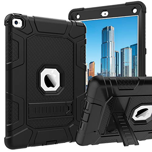 BENTOBEN iPad Air 2 Case, Kickstand Shockproof Triple-Layer Rugged Hybrid Shock Resistant Heavy Duty Drop Proof Protective Case Cover for iPad Air 2 2nd Generation 2014 Release (A1566 A1567), Black
