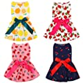 URATOT 4 Pieces Cute Pet Dress Dog Dress with Lovely Bow Puppy Dress Strawberry Cherry Lemon Pet Apparel Dog Clothes for Small Dogs and Cats