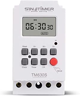 SINOTIMER 5V Hebdomadaire Programmateur Num/érique Programmable Blanc 7 Jours Commande de Relais
