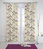Rioma Benjamin - Cortina de flores con trabillas, 140 x 270 cm, color morado y violeta