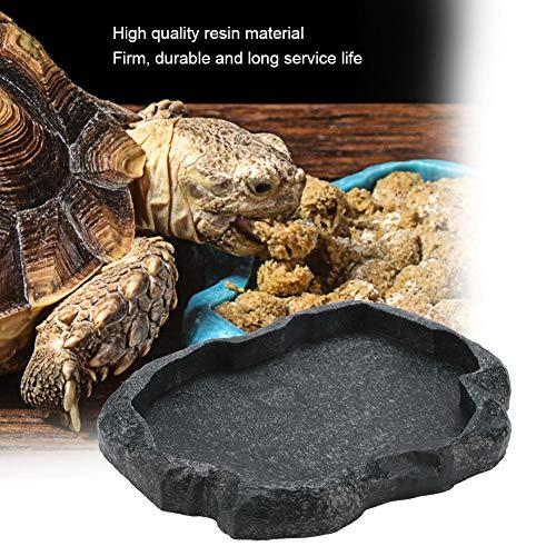 HEEPDD Reptile Näpfe, Resin Rock Reptile Futter und Wasserversorgung Haustier Aquarium Verzierung Terrarium Teller für Schildkröten Eidechsen Chamäleon Leguan(Dunkelgrün m)