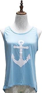 Camiseta de Mujer Verano Blusa sin Mangas con Lazo con Cuello Redondo Floja de la Moda Casual Tank Tops