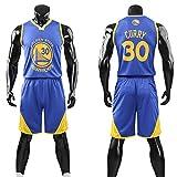 Dybory - Camisetas de baloncesto para niños y adultos, diseño de Golden State Warriors Curry # 30, estilo retro, para niños y niñas, color azul, 2XL (155 ~ 160 cm)