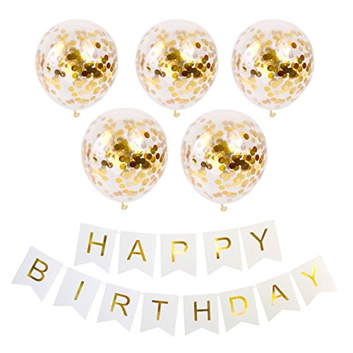 Geila Joyeux Anniversaire bannière et 5 pièces 12 Pouces Or confettis Points Ballons Ballons de fête (confettis a été mis dans Les Ballons) pour Les décorations de fête d'anniversaire (Or)