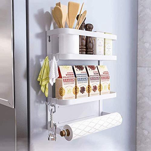 Estantería para frigorífico con imán, para especias, con estante, organizador de cocina, color blanco