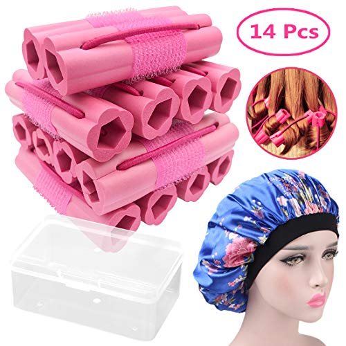 Hair Rollers Curlers, Foam Sponge Hair Curlers, Pillow Hair Curlers, No Heat Sleeping Hair Rollers for Long & Short & Thick & Thin Hair, Flexible Hair Curlers for Women & Girls, 14 Pcs with Sleep Cap