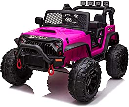 TOBBI 12V Kids Ride On Truck Toys with Remote Control Electric Vehicles with 3 Speeds for Boys Girls in Rose Red