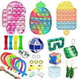 Chagoo Paquetes de juguetes Fidget TIK Tok Juego de juguetes Fidget sensoriales baratos con burbuja de empuje para AGREGAR OCD Niños autistas Adultos (30 set-1)