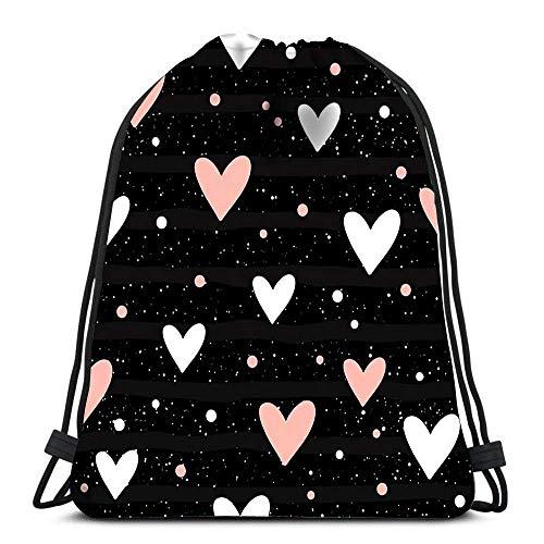 JONINOT Kordelzug Taschen Herz abstrakt kindisch für Design Hochzeitskarte Bridal Beach Rucksack