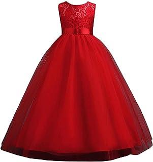 Kid Girl Floral Bowknot Bridesmaid Wedding Birthday Communion Party Prom Princess Maxi Lace Dress