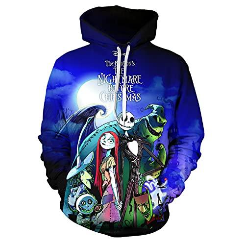 Nightmare Before Christmas Hoodie Jack Sally Skellington Hoodies Novelty Unisex 3d Sweatshirt 4-Small