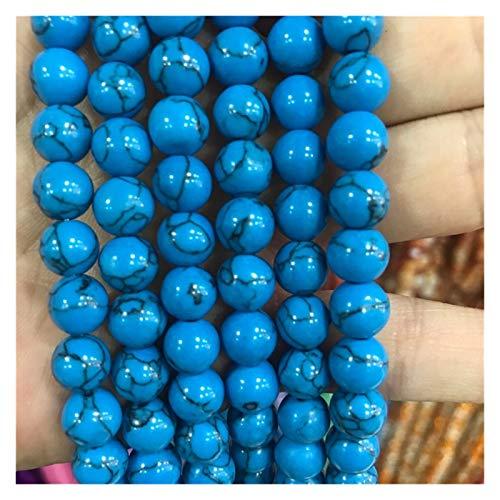 HETHYAN La luz Azul Turquesa Cuentas de Piedra Redonda Suelta la Piedra Preciosa talón 6/8/10 mm for la joyería del Collar y Pulsera Artesanal de Materiales