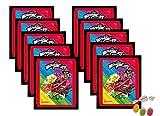 Panini Miraculous Ladybug Super Heroez Team Sticker – (10 bolsas de pegatinas) cada uno con 4 pegatinas + 1 tarjeta adhesiva & tarjeta Trading además 1 x surtido de frutas Sticker-und-co