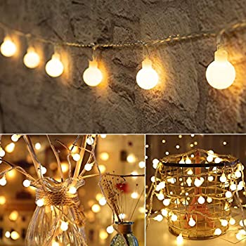 Globe Ball String Lights - 33Feet 100LED Fairy String Lights Plug in 8 Modes with Remote Decor for Indoor Outdoor Party Wedding Christmas Tree Garden Dorm Classroom  Warm White