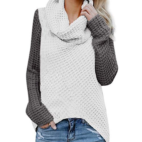 iHENGH Damen Herbst Winter Übergangs Warm Bequem Slim Lässig Stilvoll Frauen Langarm Solid Sweatshirt Pullover Tops Bluse Shirt