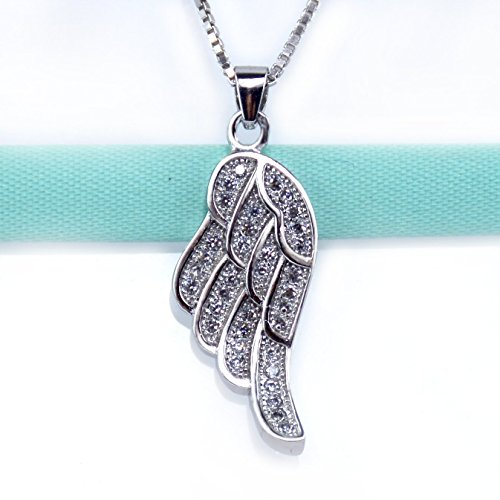 Angel Wing Necklace, 925 Sterling Silver, Women Girl Pendant Necklace