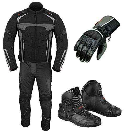 Motorbike Suit - With Motorcycle Gloves - Motorbike Boots Leather Shoes - Armored 2 Piece Suit Motorbike Waterproof Suits Jacket with Trouser CE Armor For All Weather Mens - Size 5Xtra Large
