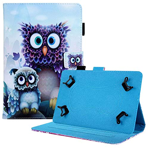 Coopts Case for Universal 8 Inch Tablet, Slim Shockproof Kickstand Cover for iPad Mini 4 3 2 1/Kindle Fire HD 8/Samsung Galaxy Tab A 8.0 2019 P200 P205 and More 7.0-8.5' Tablets, Purple Owls