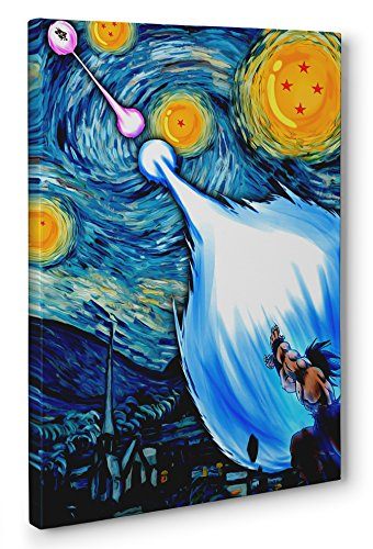 OneCanvas Dragon Ball Z Starry Night Framed Canvas Print Poster Wall Art (Ready to Hang) (24x36in.)