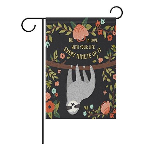 Alaza Animal et floral Garden Drapeau Décoration de Yard, paresseux sur arbre double face Polyester Bienvenue Maison Drapeau Bannière 12 x 18 (en) pour extérieur pelouse fête Décor, Tissu, multicolore, 28x40(in)