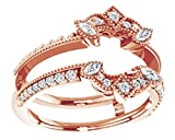 AFFY Marquise & White Natural Diamond Enhancer Guard Ring in 14K Solid Rose Gold (0.37 Ct), Ring Size-8.5