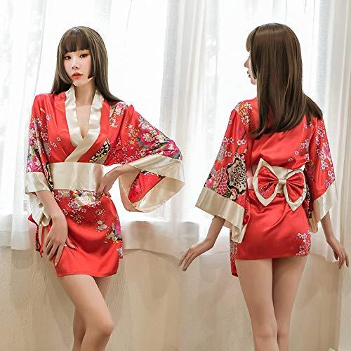 HAIBI Mujer Albornoz Bata Señoras Sexy Sakura Kimono Niñas Batas Encantadoras Ropa De Dormir Floral Albornoz Corto con Cinturón De Lazo Tanga, Diseño 3
