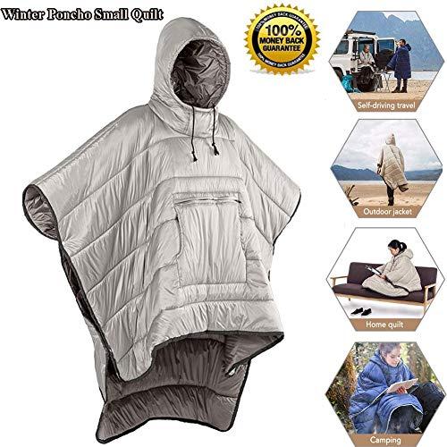 Winter Poncho Wearable Schlafsack - Hoodie Decke, Tragbare Outdoor Jacke Mantel, Kleine Quilt Ultralight Schlafsack, Winddichtes Wasserdicht Mantel Kap für Camping im Freienkhaki