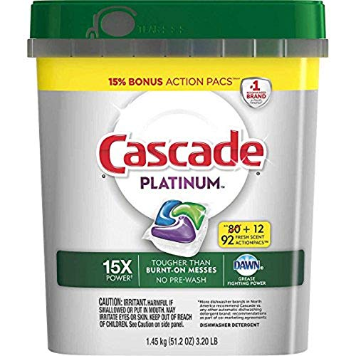Cascade Platinum Dishwasher Detergent, 16x Strength With Dawn Grease Fighting Power, Fresh Scent (92 Count)